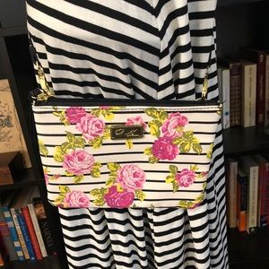 Betsey Johnson Small Floral Clutch/Crossbody Bag